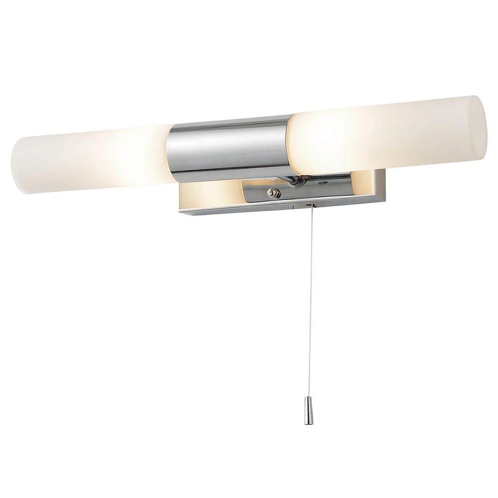 Elena Glass Bathroom Wall Light 2 Light Pull Cord Switch Glass