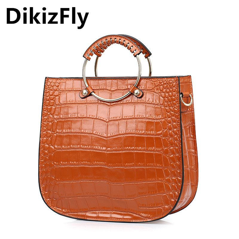 Genuine Leather Handbags Female Fashion Alligator Pattern Casual Tote Bag  With Ring Handle Top Quality Women Shoulder Bag bcfe235fe982d