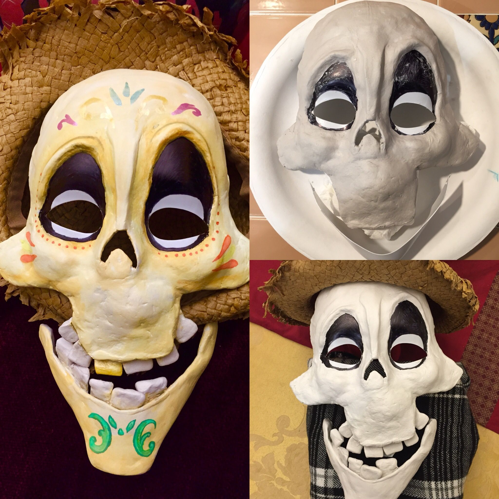 COCO inspired cosplay. Hector mask. Air dry clay and