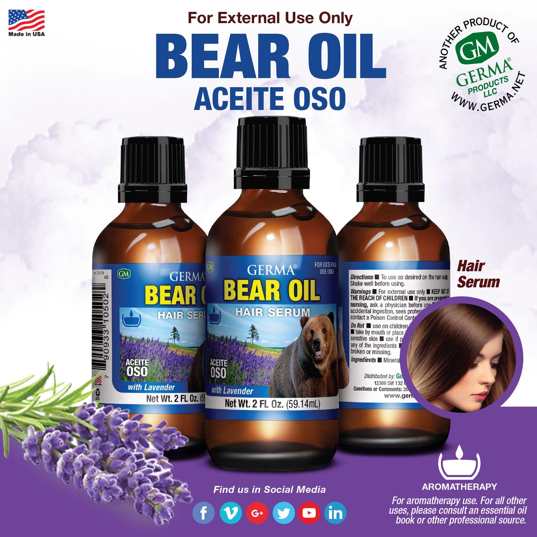 Germa Bear Oil 2oz Oils Shampoo Bottle Hair Serum
