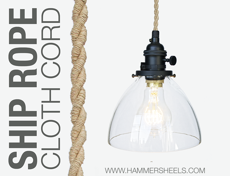 Rustic Pendant Light With Nautical Ship Rope Cord And Hand