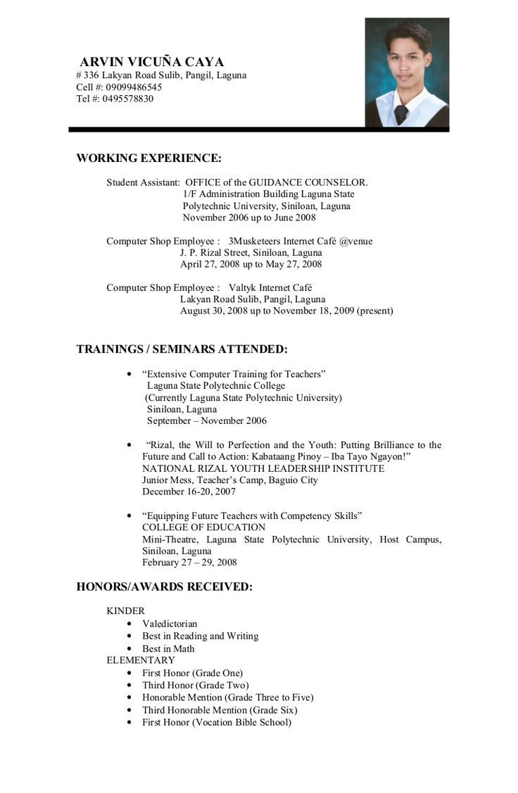 Example Of Resume Format For Student Example Format Resume Resumeformat Student Student Resume Template Job Resume Samples First Job Resume