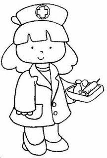 Servidores Publicos Enfermera Para Colorear Oficios Y Profesiones Dibujos De Profesiones