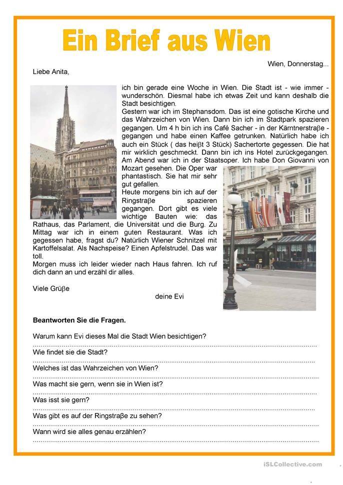 Ein Brief aus Wien - Perfekt | Deutsch | Pinterest | Wien, Deutsch ...