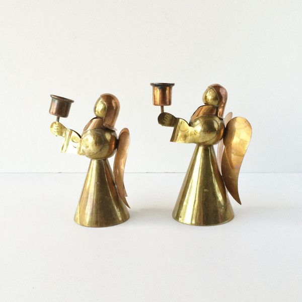 Vintage Copper And Brass Angel Candle Holders, Christmas Angel... (€16) ❤ liked on Polyvore featuring home, home decor, candles & candleholders, angel candleholder, copper candlestick holder, brass home decor, angel candle holder and brass candleholders