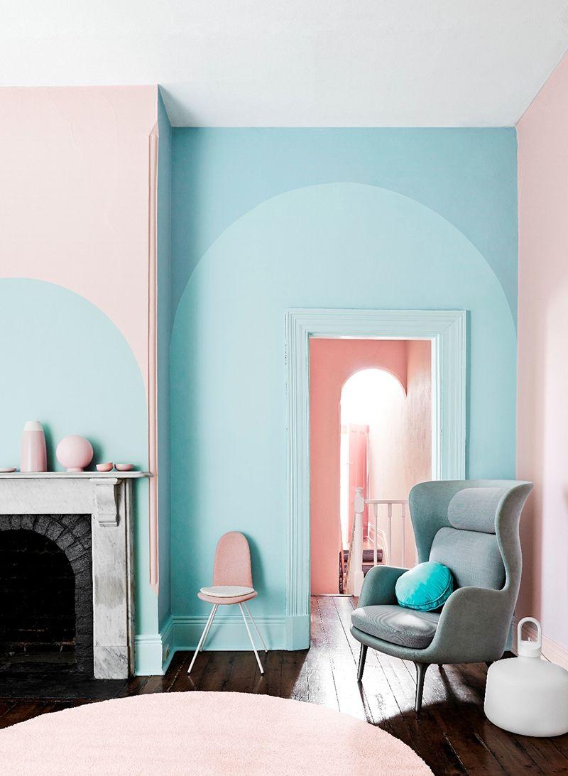 Frische Kombination Aus Hellem Rosa Und Hellblau Für Die Wand | Wand  Streichen | Wände Streichen