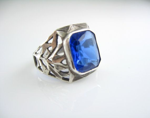Sterling Art Deco Ring Sapphire Blue Glass by bohemiantrading, $125.00
