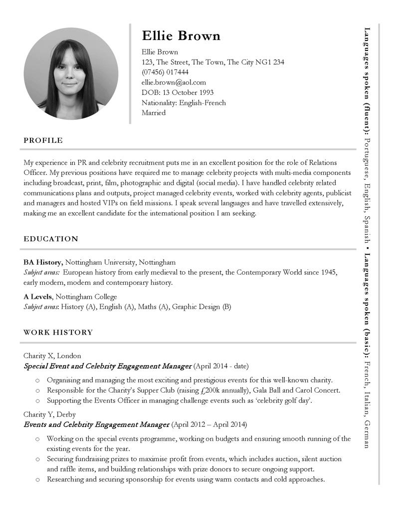 Free international or PR themed CV template CV Template