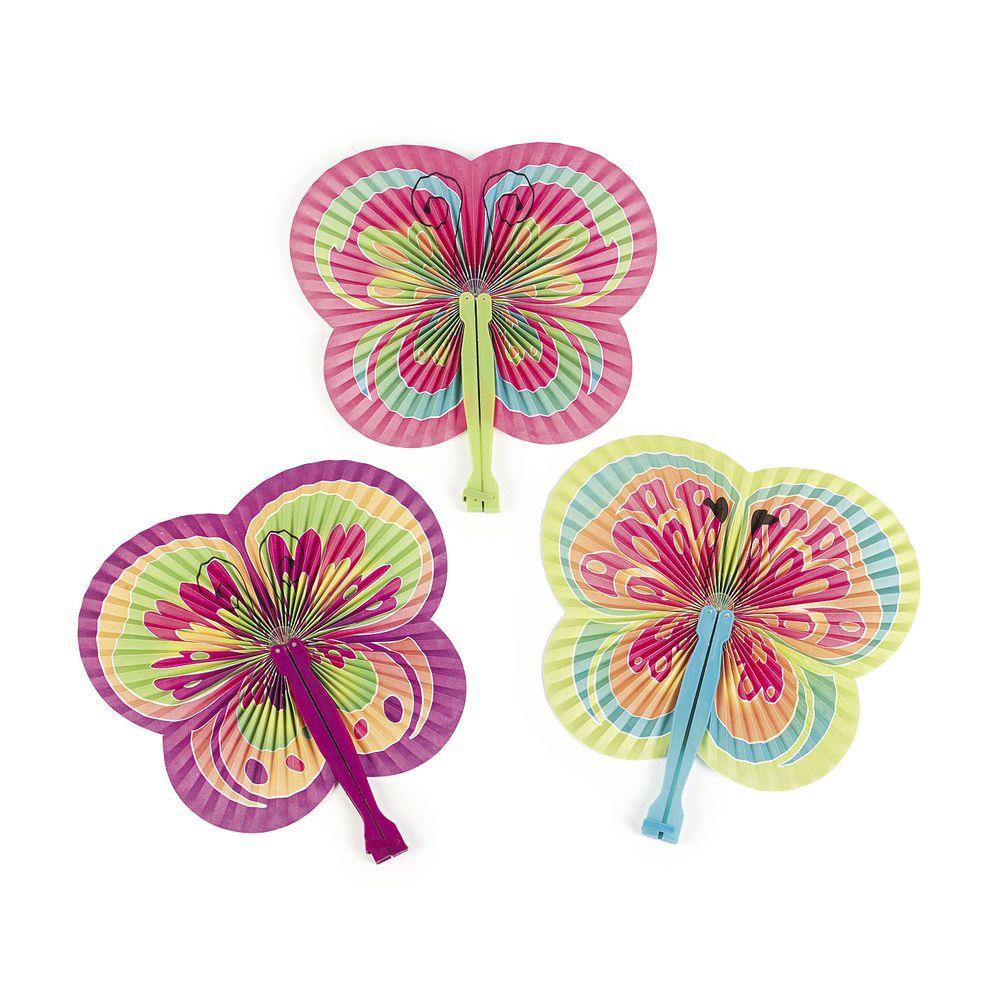 12 SPRING Butterfly Folding Fans Luau Wedding Beach Tea Birthday PARTY FAVORS #Unbranded #LuauBeachParty
