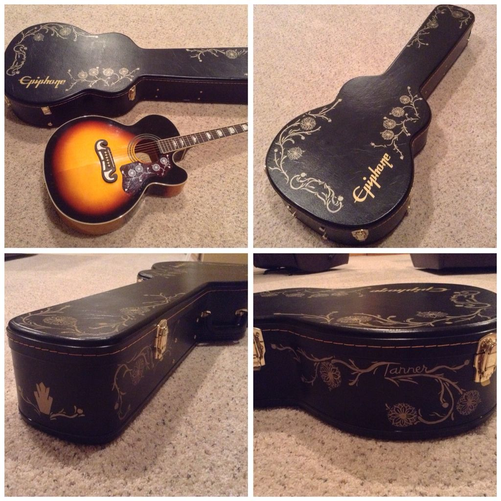 Custom Painted Guitar Case Guitar Case Guitar Painting Custom Guitar