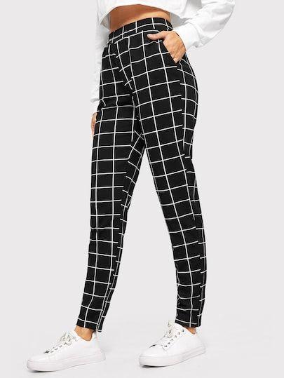 Shop Elastic Waist Slant Pocket Grid Pants online. SheIn offers Elastic Waist Sl... 3