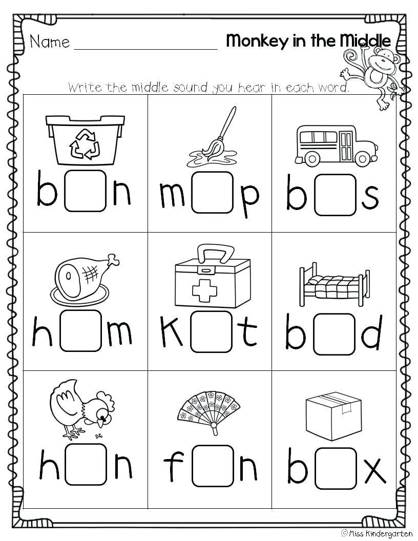 Worksheet Beginning Middle End Worksheets Kindergarten Language Arts Story Middle Sounds Worksheet Phonics Kindergarten Cvc Worksheets Kindergarten
