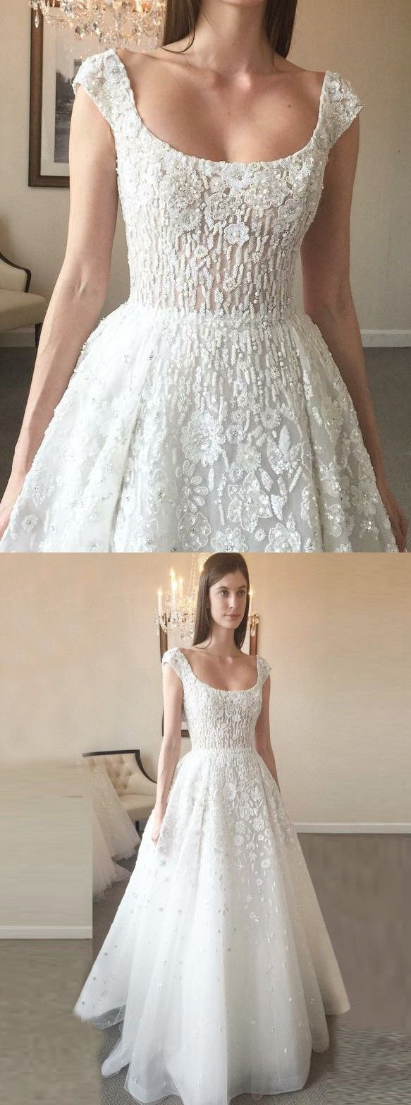 Aline scoop court train tulle backless wedding dress with beading