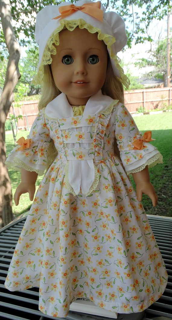 "Doll Clothes 18/"" Colonial Dress Pink Yellow Floral Hat Fit 18/"" AG Doll Elizabeth"