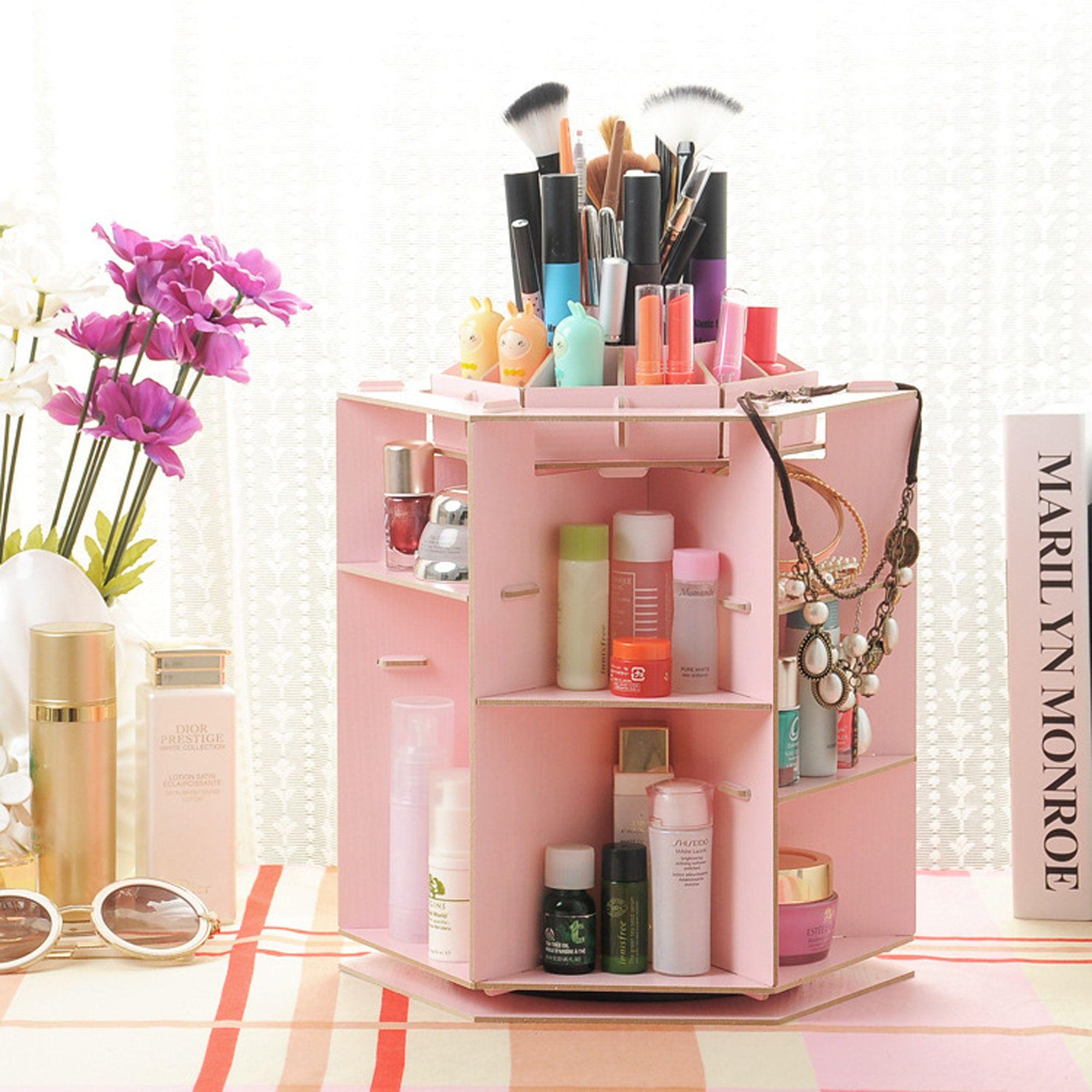 Photo of Rotation Wooden Makeup Organizer, Makeup Container, Makeup Vanity, Perfume Organizer, Makeup Storage Box, Makeup Organizer Box