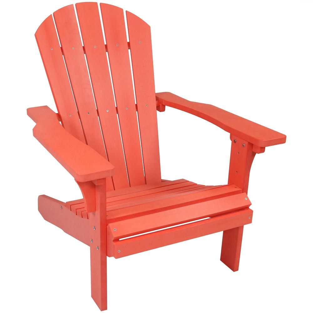 Sunnydaze Decor All Weather Salmon Patio Plastic Adirondack Chair