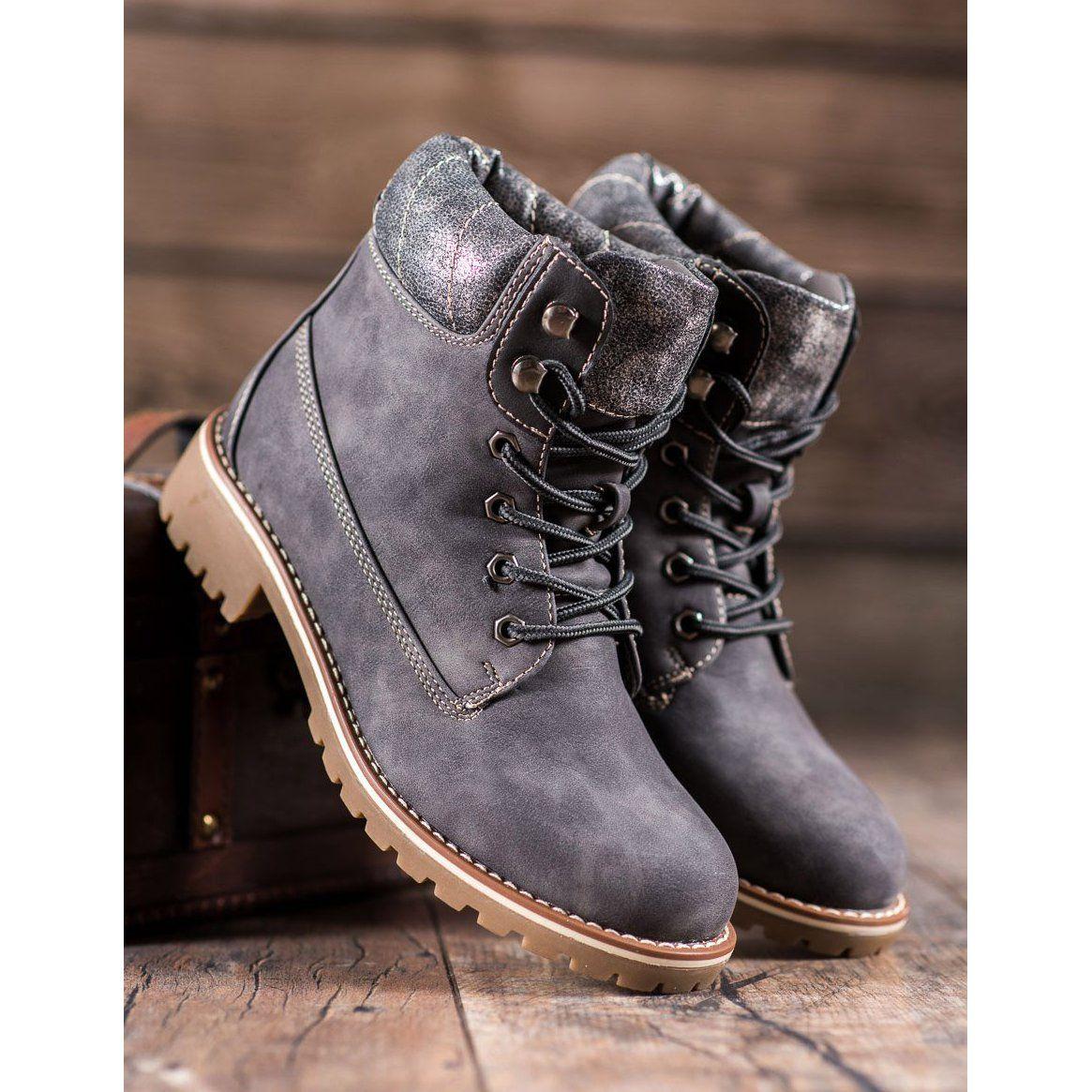 Super Me Wiazane Trapery Szare Boot Shoes Women Plastic Heels Womens Sneakers