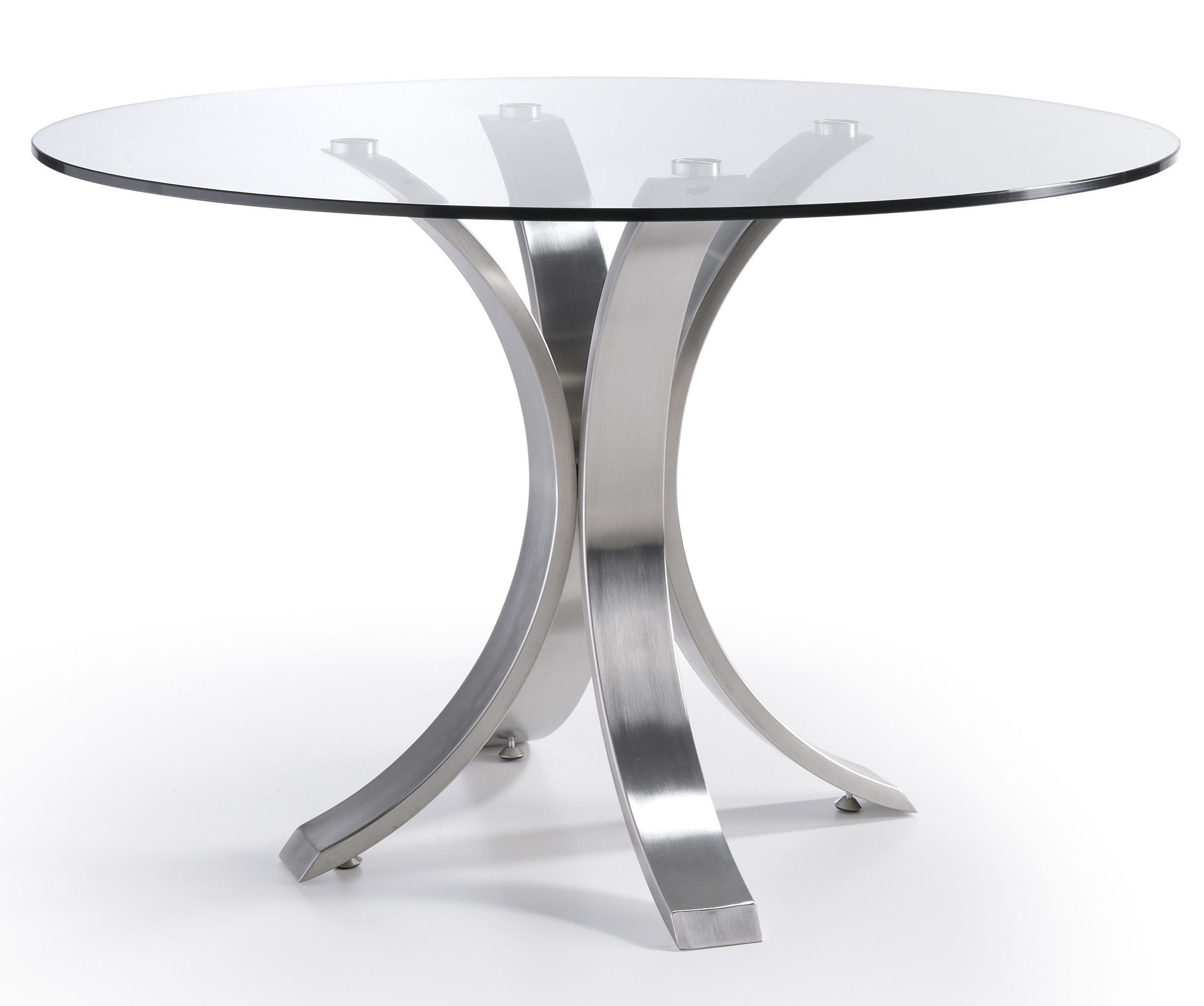 Designer Table Ronde Acier Poli Et Verre Trempe Majestua 110 Cm