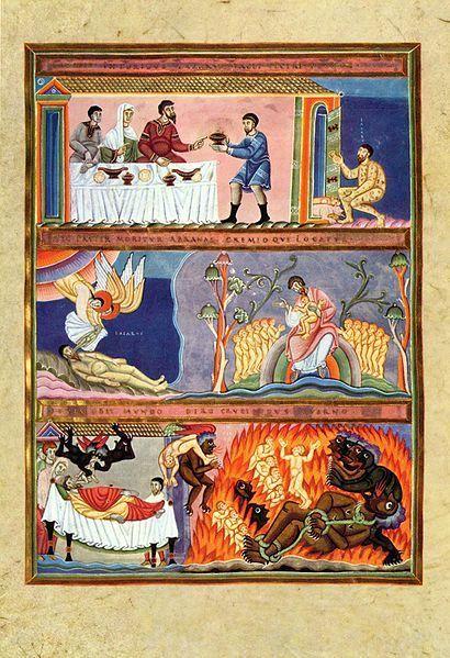 Meister des Codex Aureus Epternacensis 001.jpg. Lazarus and Dives, illumination from the Codex Aureus of Echternach