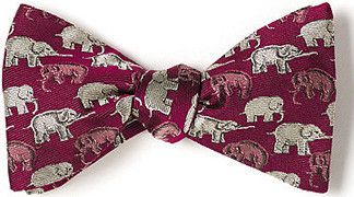 bow ties elephants red british silk american made