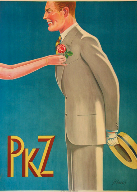 Poster by Blaser, 1936, PKZ (Switzerland)....this company had some of the most stylish and interesting advertising for menswear of the interwar period...