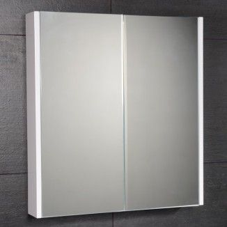 The Windsor Cuba Aspen White Slimline Mirror Cabinet In High Gloss Is Compatable With Bathroom Furniture Range