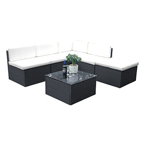 Ukhomegarden Rattan Garden Sofa Conservatory Furniture Sets Wicker Set Black Brown And