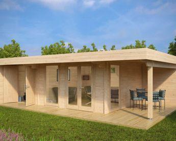 Luxus Gartenhaus Hansa Lounge XXL mit 2 Zimmern 22m² / 44mm / 5x8