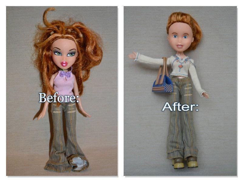 Repainted Bratz Doll Make Under Red Orange Hair Blue Eyes Quot Heather Quot Bratz Doll Tree Change Dolls Red Orange Hair
