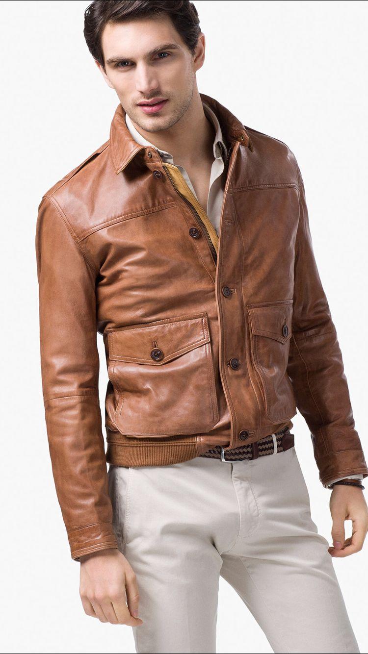 Bomber Jacket Massimo Dutti Leather Jacket Men Brown Leather Jacket Men Leather Jacket Style [ 1334 x 750 Pixel ]