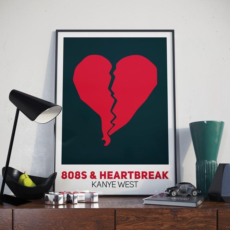 Kanye West Poster 808s Heartbreak Album Poster Kanye West Etsy Poster Prints 808s Heartbreak Heartbreak