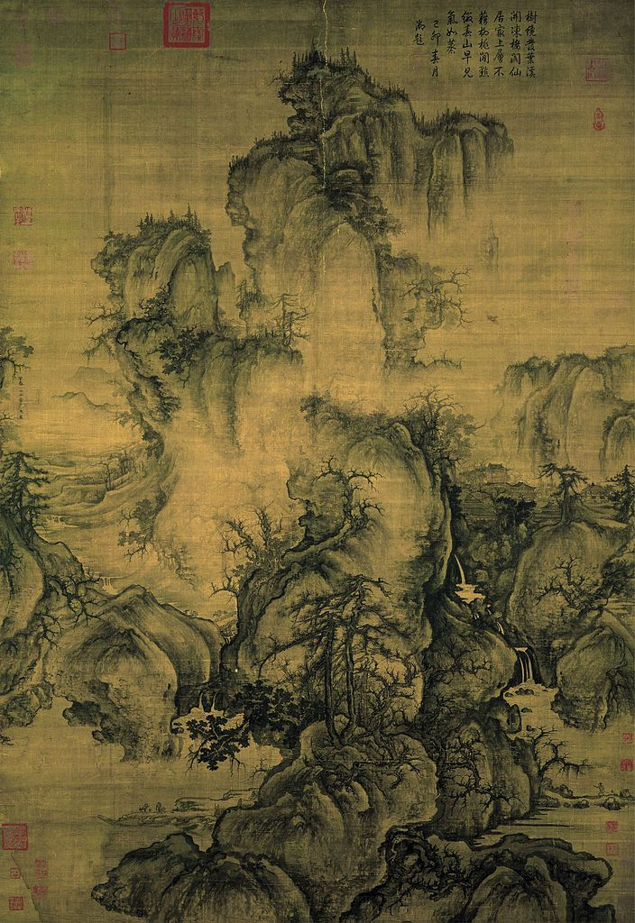 Early Spring, by GUO XI, signed and dated 1072.(Northern Song Dynasty) Hanging scroll, ink and color on silk 158.3x108.1. National Palace Museum, Taipei.