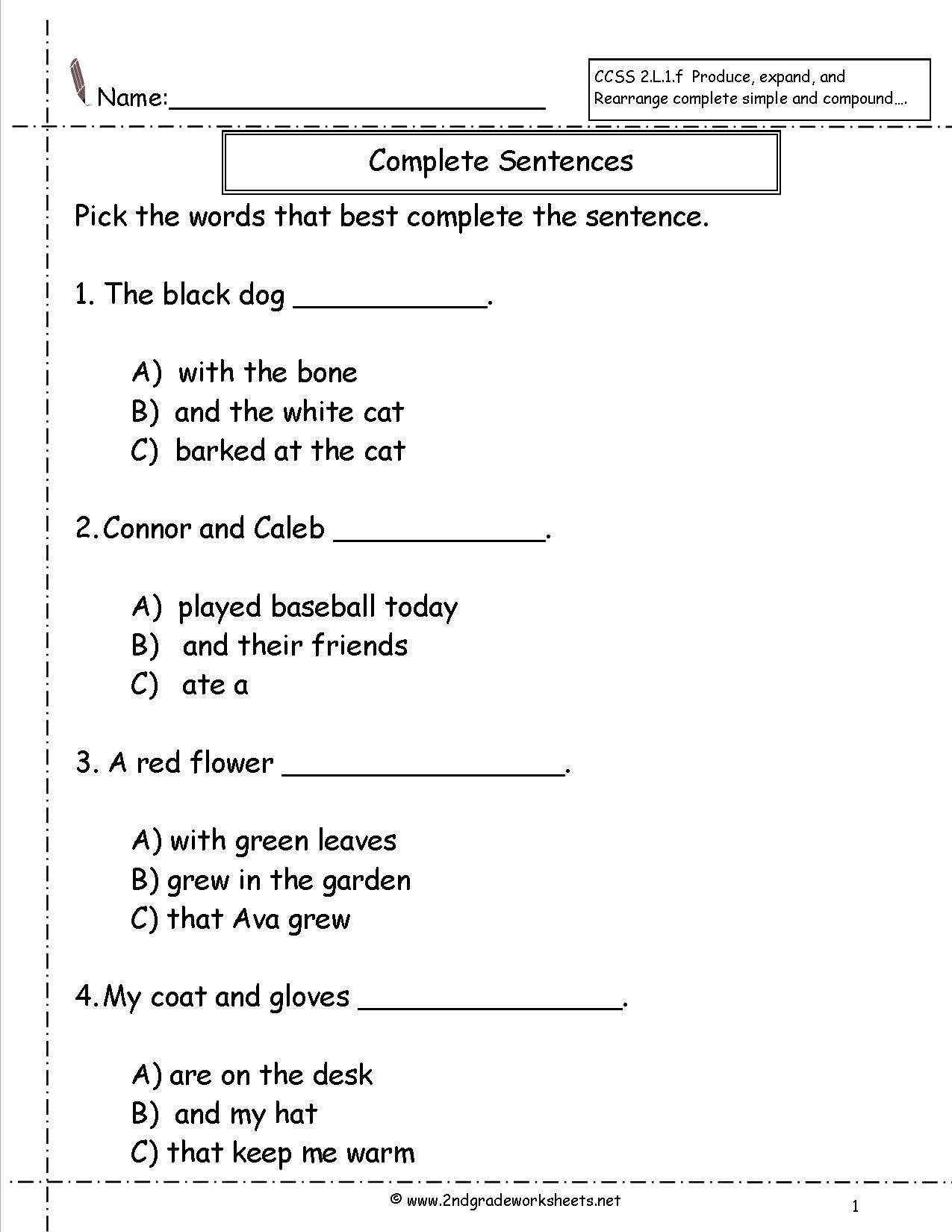 Complete Sentences Worksheet Education Pinterest Complete