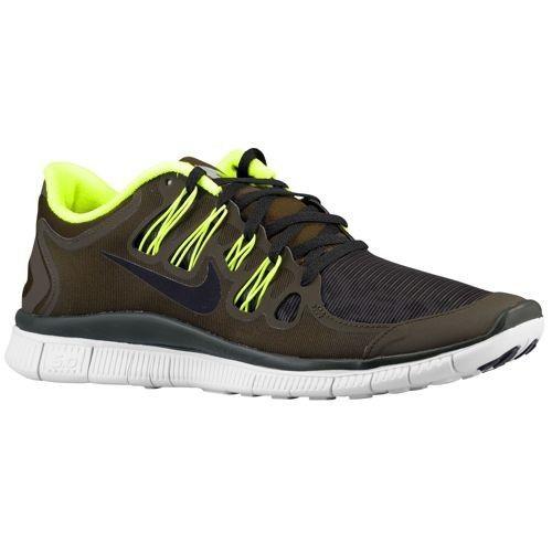 (FR8s0) Nike Free 5.0 + Bouclier des Hommes Sombres Loden/Volt/Pure Platinum/Noir