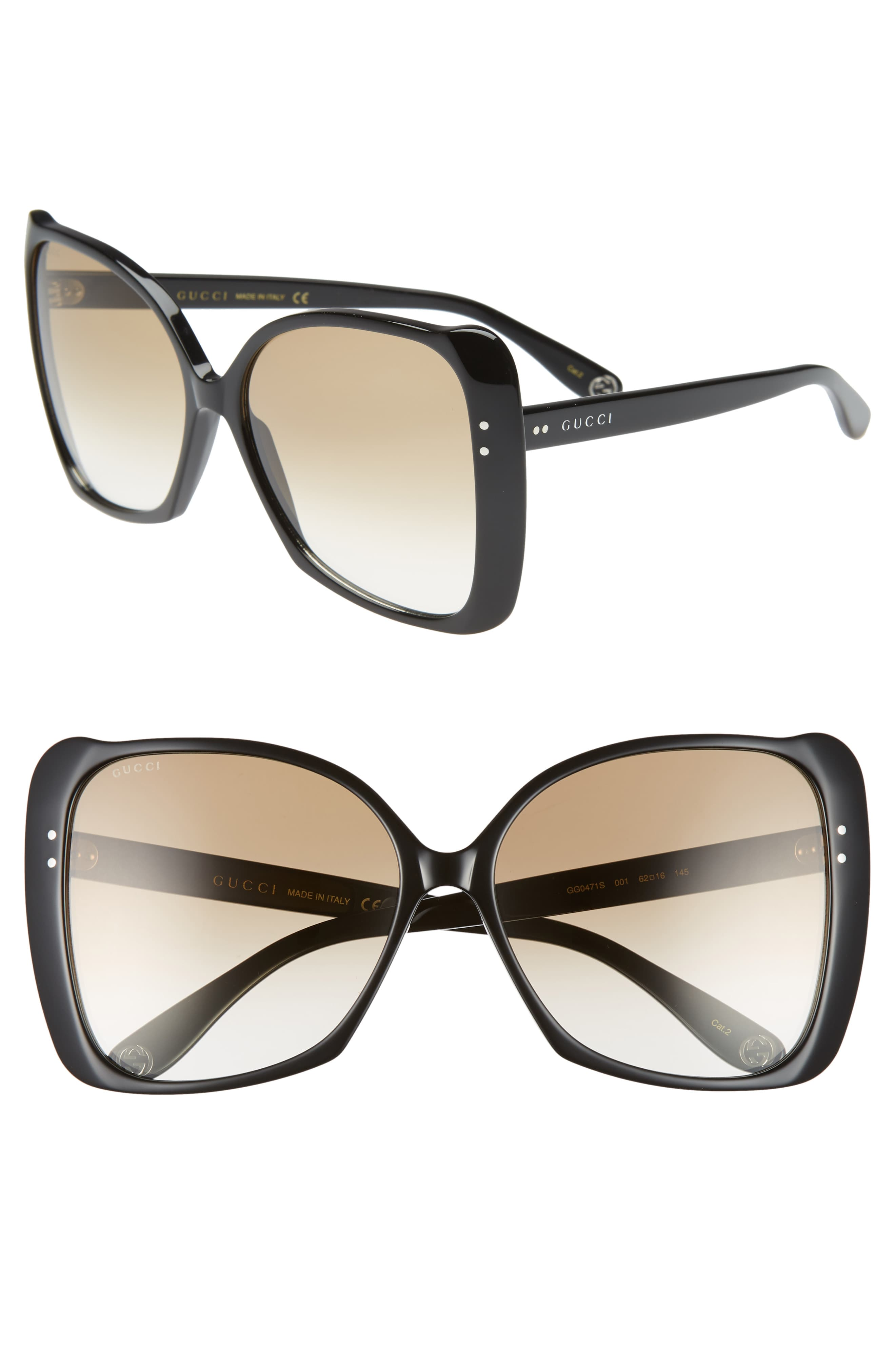 0591841cb338 Women's Gucci 62Mm Oversize Butterfly Sunglasses - Shiny Black/ Brown  Gradient