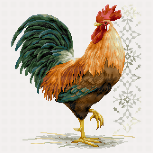 Rooster Cross Stitch Pattern PDF Instant Download Bright Cross Stitch Animal Cross Stitch Bird Cross Stitch Watercolor Cross Stitch Modern