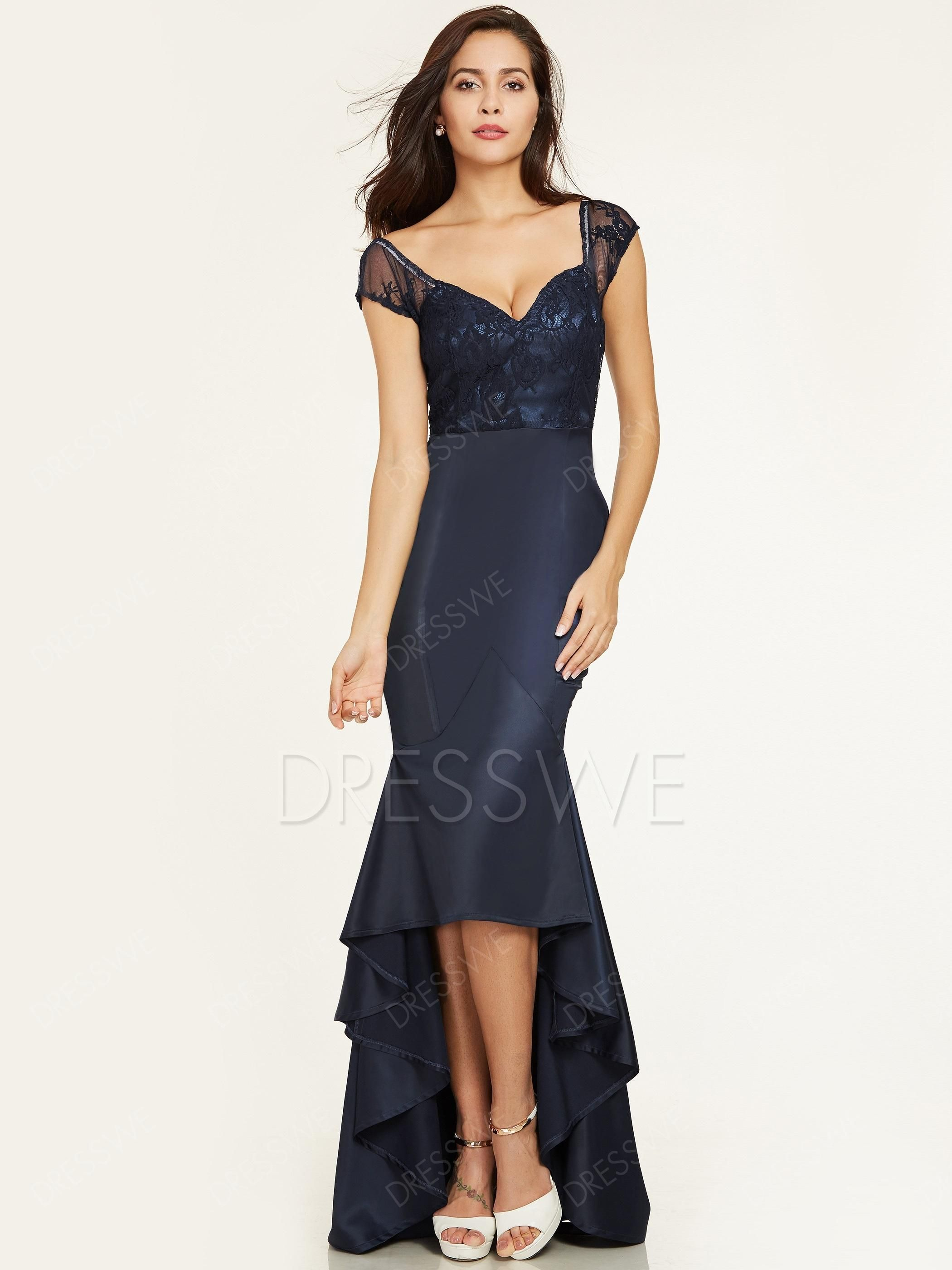 Dresswe dresswe v neck cap sleeves mermaid evening dress