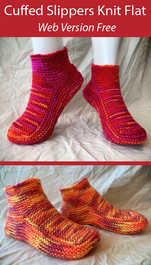 Free Knitting Pattern for Moccasin Slippers with a Cuff ...
