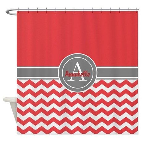 Attirant Red Gray Chevron Shower Curtain
