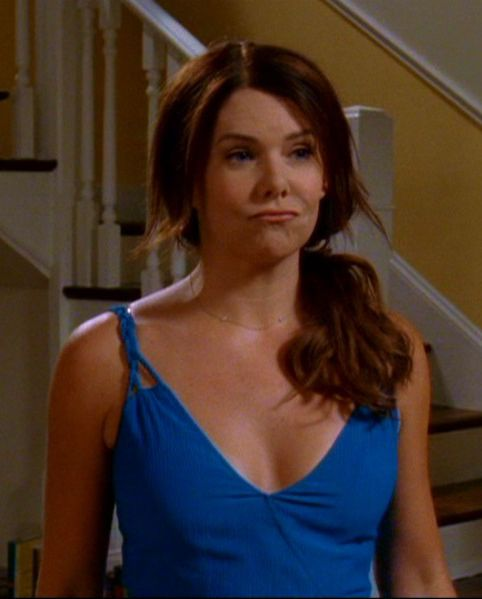 Gilmore Girls Season 6 - Blue Dress with Braided Straps but turn it into a shirt (with v back as well)