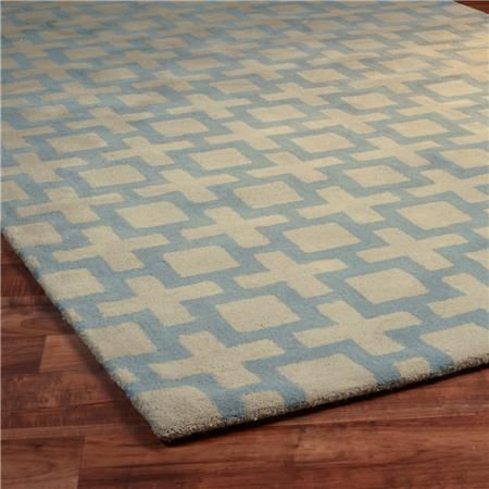 Wool Rug Square Trellis Tufted Sky Blue Shades Of