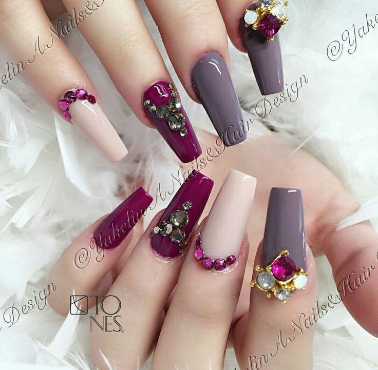 Beige - Burgundy - Gray - Nail Art - Nail Designs - Nail Ideas ...