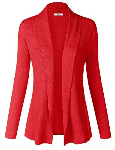 Women Soft Long Sleeve Open Front Cardigan Sweater XL Red | WOMENS ...