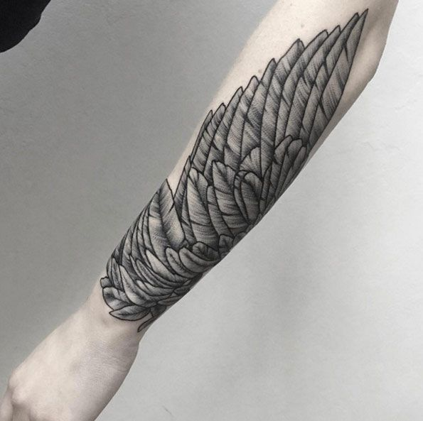 32 best wing tattoos for men and women tattoo forearm for Wing forearm tattoo