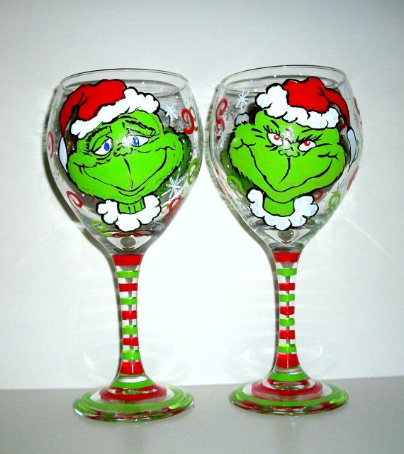 The grinch merry christmas hand painted wine goblets set for Hand painted wine glass christmas designs