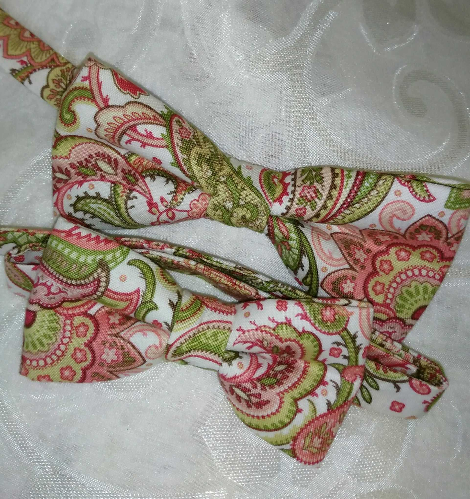 Coral Green Paisley Bow Tie,Father Day Ties,Floral Bow