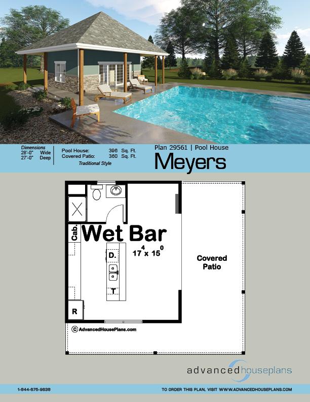 Meyers Pool House Traditional House Plan Pool House Plans Pool