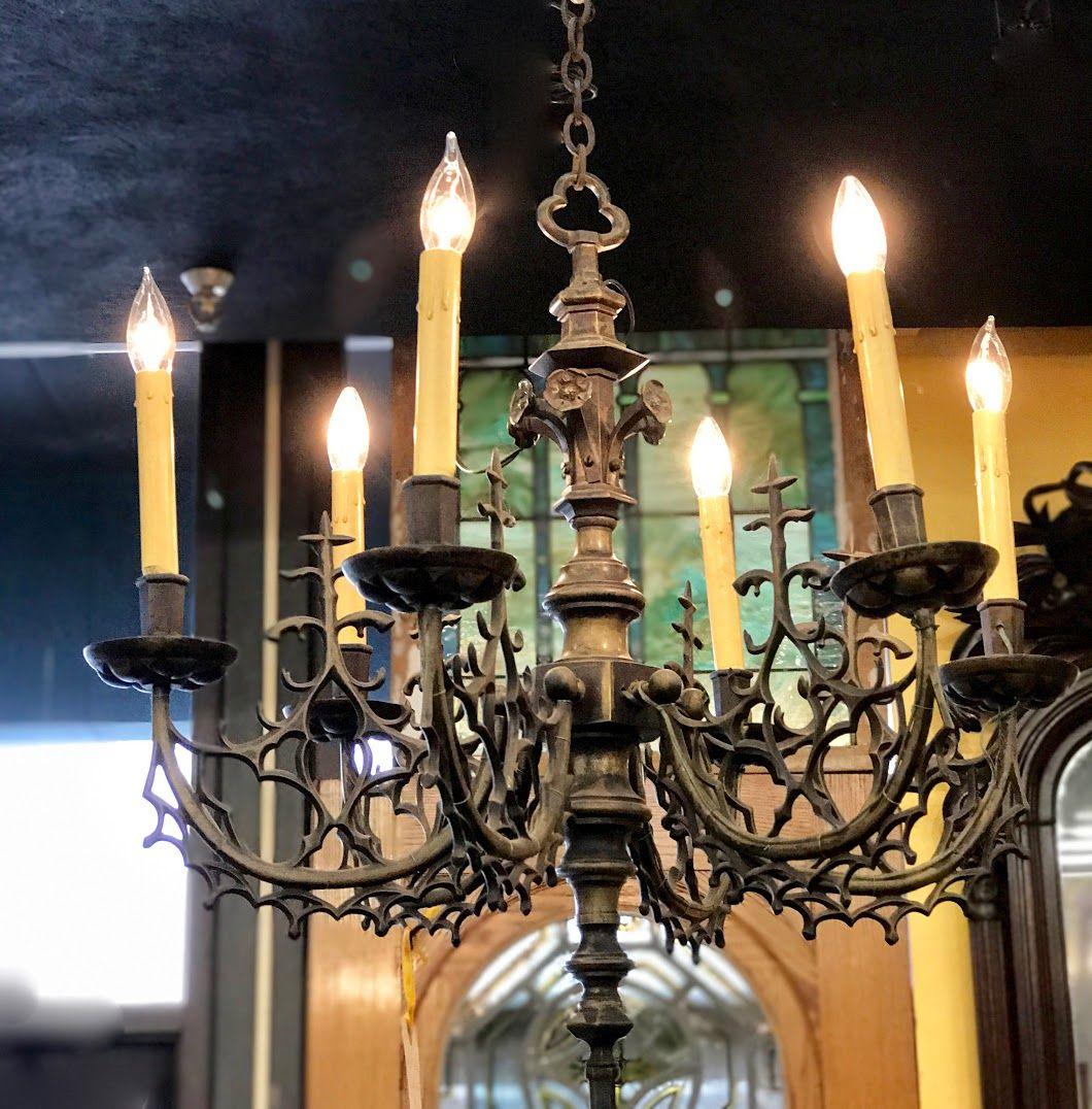Antique Gothic Design Bronze Six Lite Chandelier On Sale Was $1575 ...