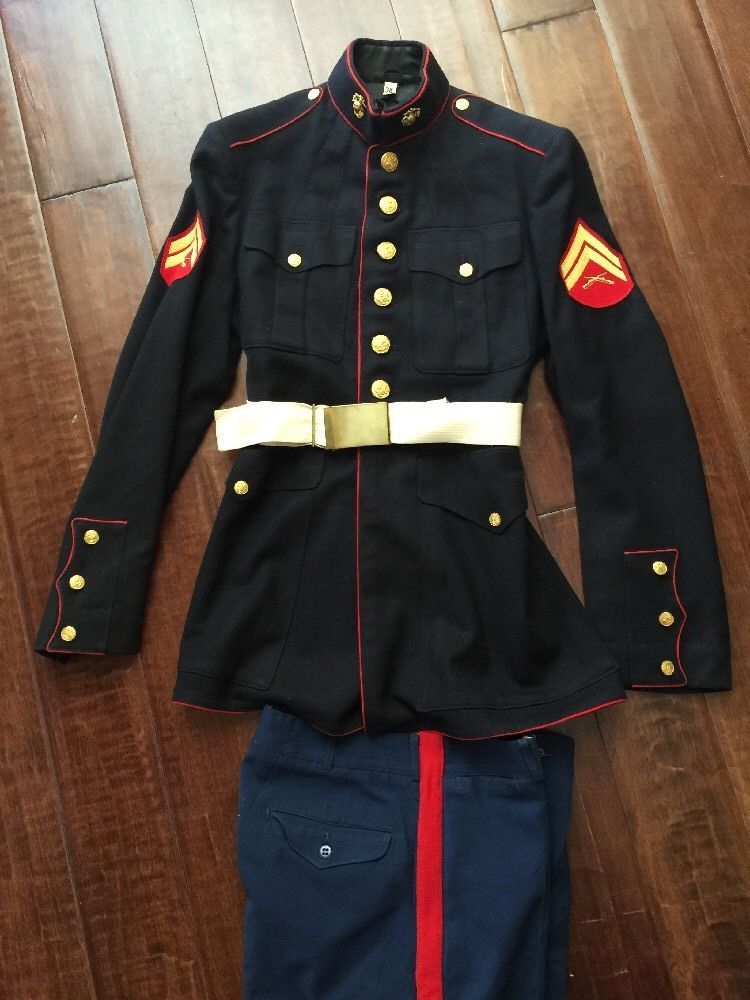 Vintage Usmc Marine Corps Dress Blue Uniform 38 Pant Coat Jacket