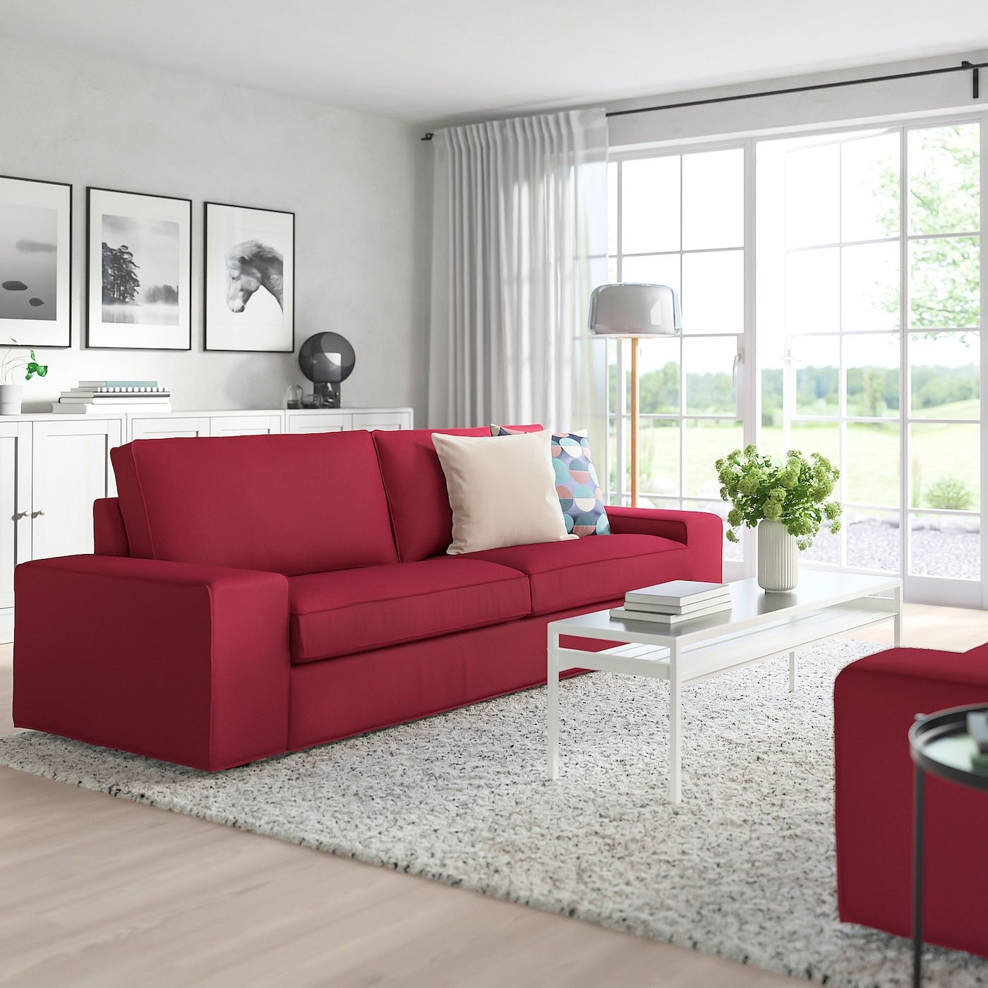 kivik sofa  orrsta red  ikea  red couch living room